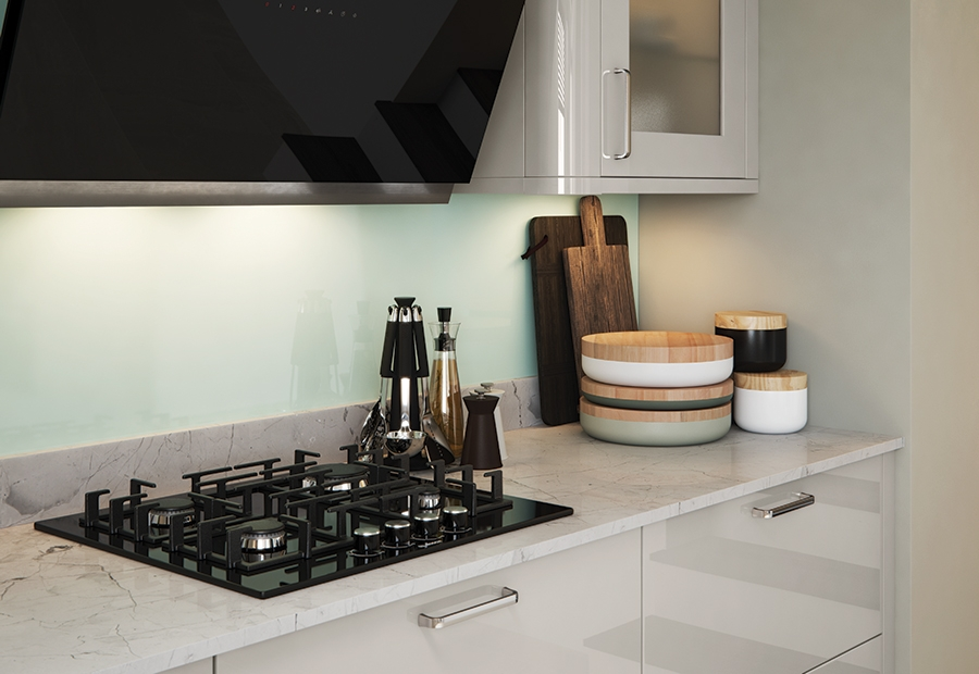 Modern Contemporary Zola Gloss Kitchen Featuring Plain Glass Frames in a Cashmere Colour
