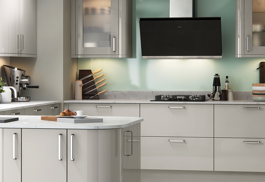 Modern Contemporary Zola Gloss Kitchen in a Cashmere Colour Featuring Plain Glass Frames