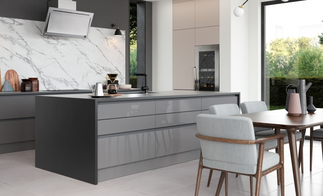 Modern Contemporary Zola Gloss Kitchen in Cashmere & Dust Grey, Featuring Tavola in Stained Carbon