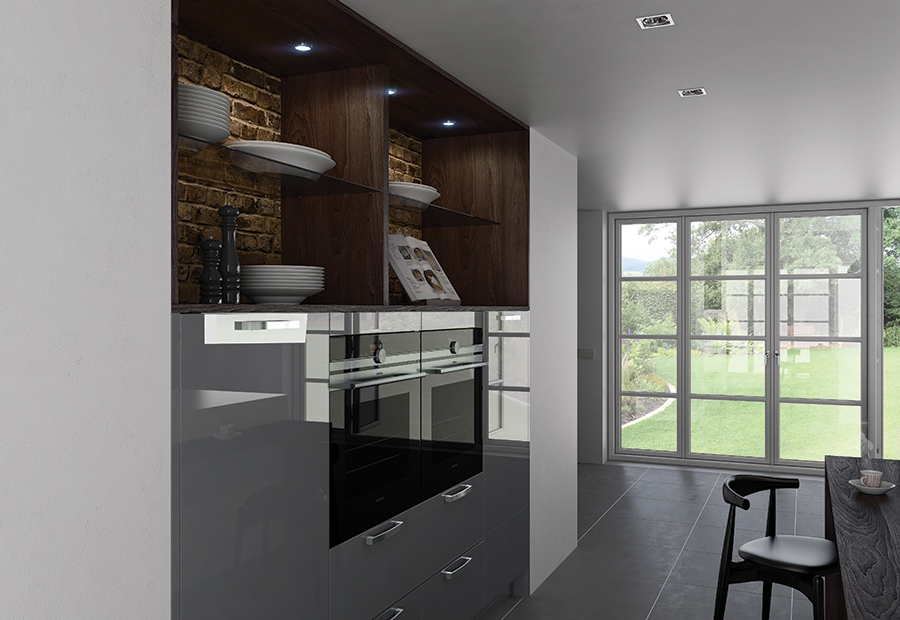 Zola Gloss - Grey kitchen wall units