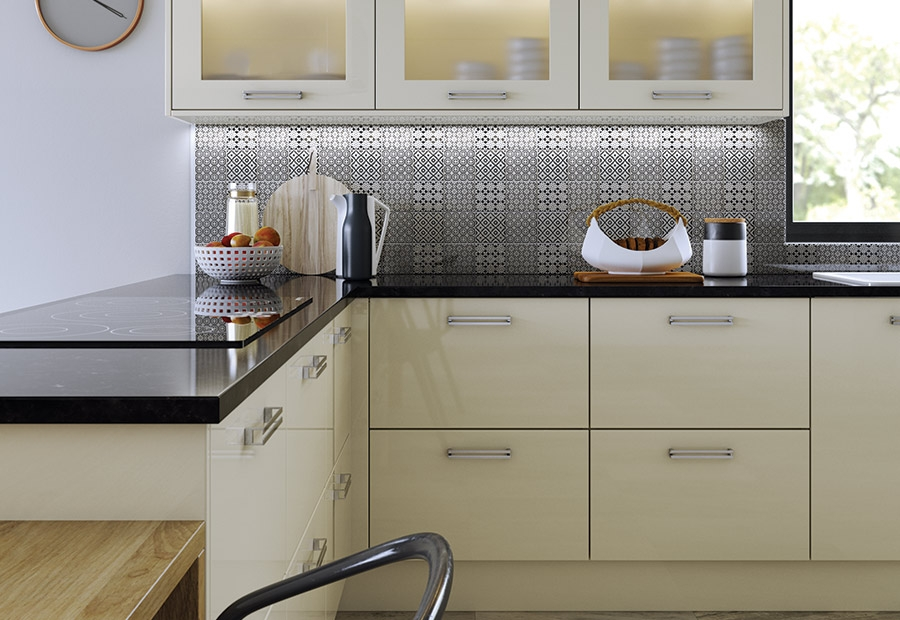Modern Contemporary Zola Gloss Kitchen Cabinets in Ivory