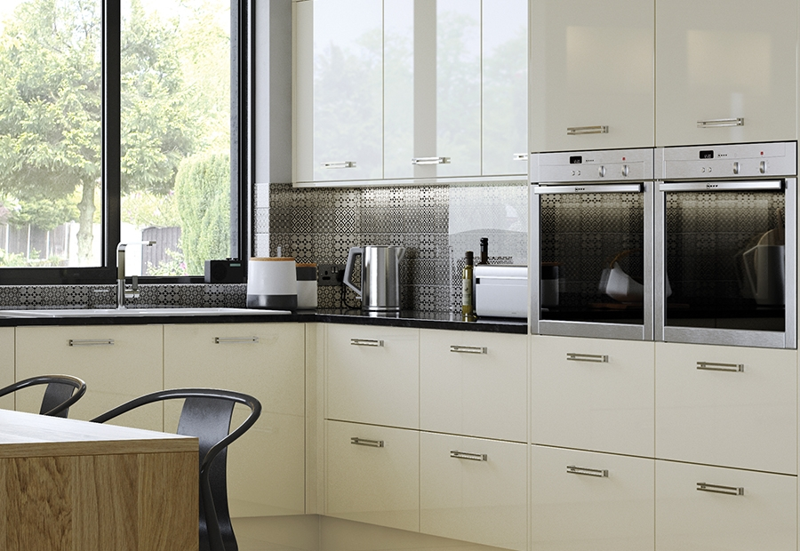 Modern Contemporary Zola Gloss Ivory Kitchen Wall Units With Integrated Ovens