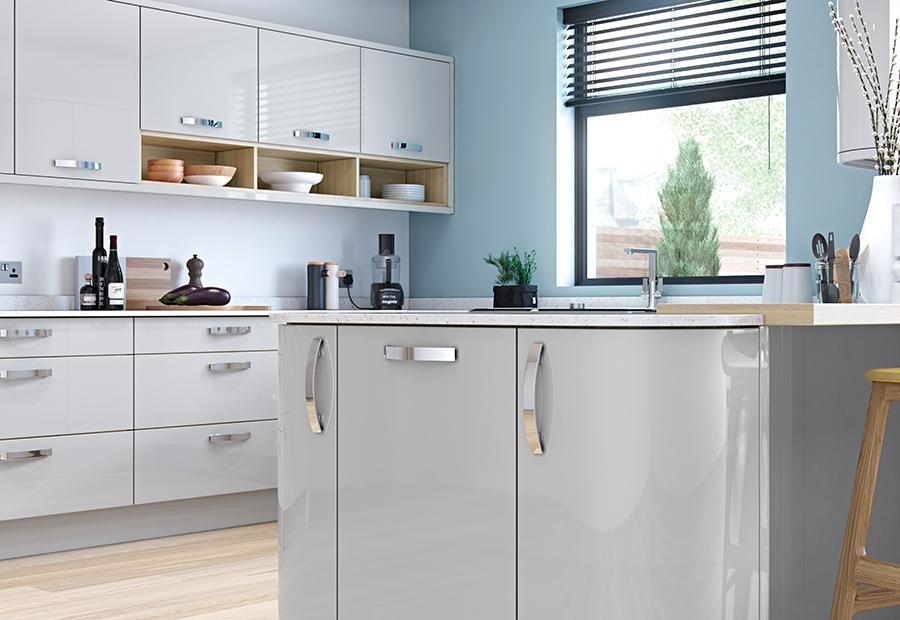 Zola Gloss Light Grey, Light Grey High Gloss Kitchen Units