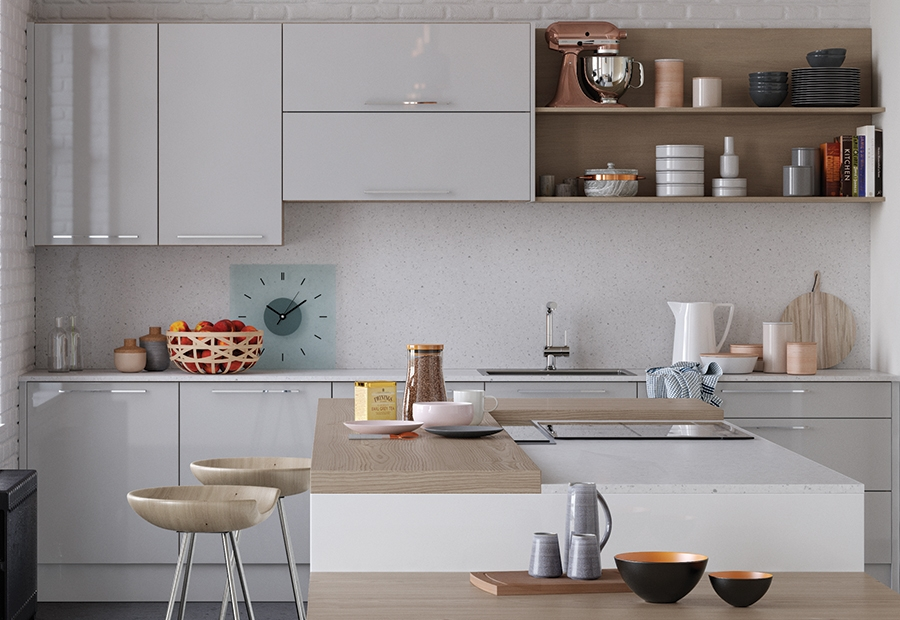 Modern Contemporary Zola Gloss Light Grey & White Kitchen With Open Shelving