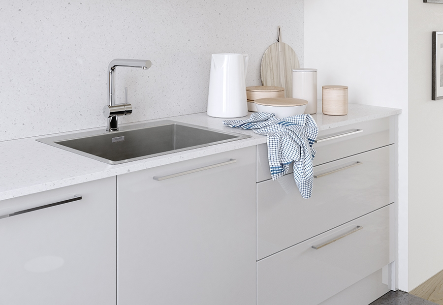 Modern Contemporary Zola Gloss Kitchen Sink Cabinets in Light Grey