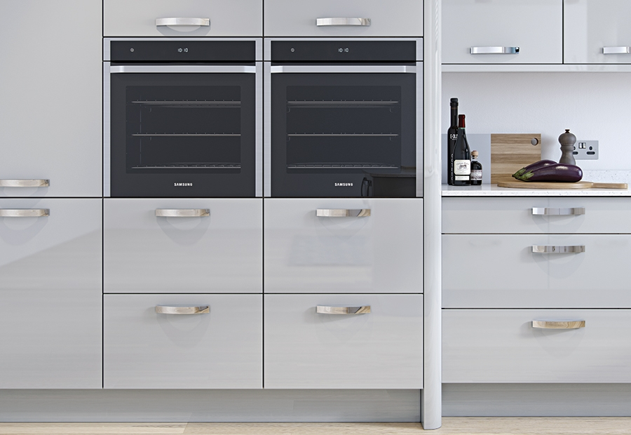 Modern Contemporary Zola Gloss Kitchen Oven Wall Units in Light Grey
