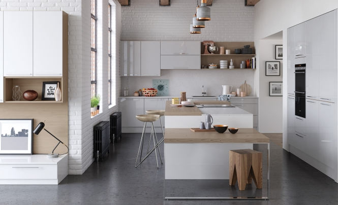 Modern Contemporary Zola Gloss Kitchen in White & Light Grey