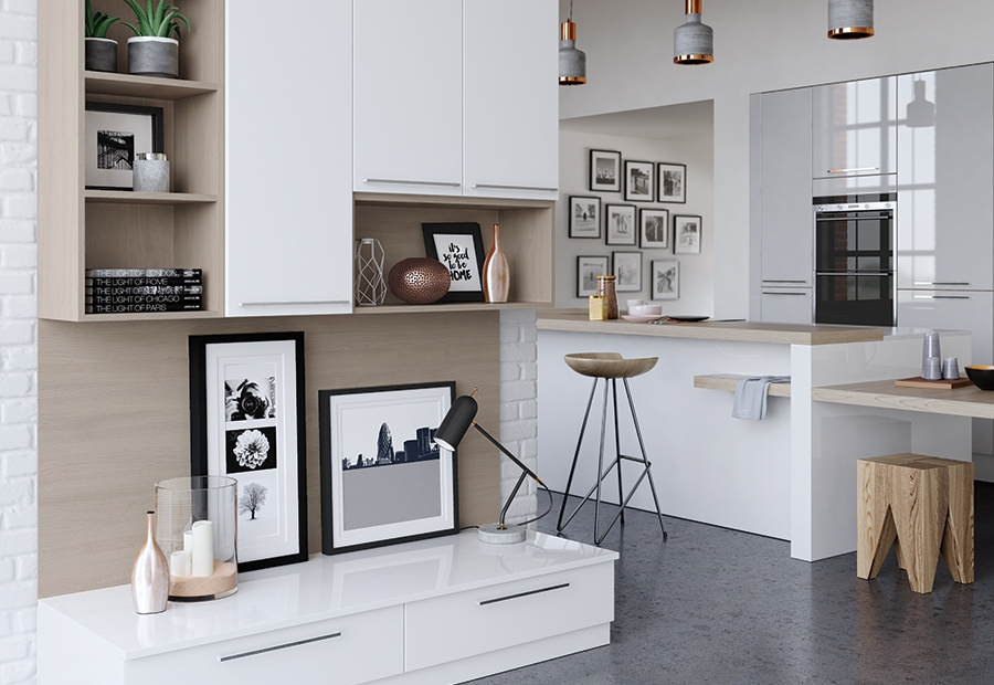 Zola gloss contemporary white light grey kitchen stori for White gloss kitchen wall cupboards