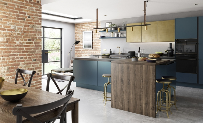 Modern Contemporary Zola Matte Kitchen in Marine Featuring Ferro in Painted Brass