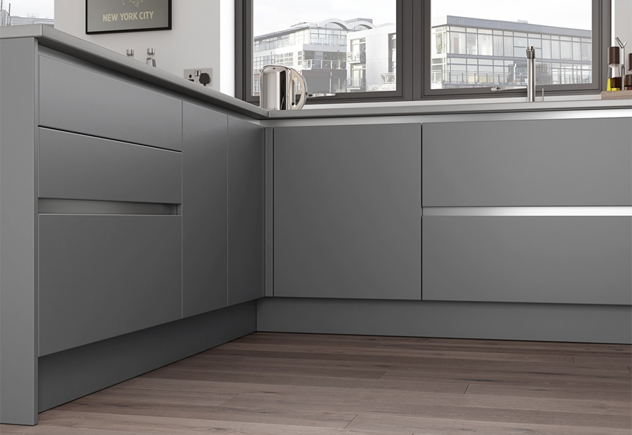 Zola Matte Handleless Range in Dust Grey