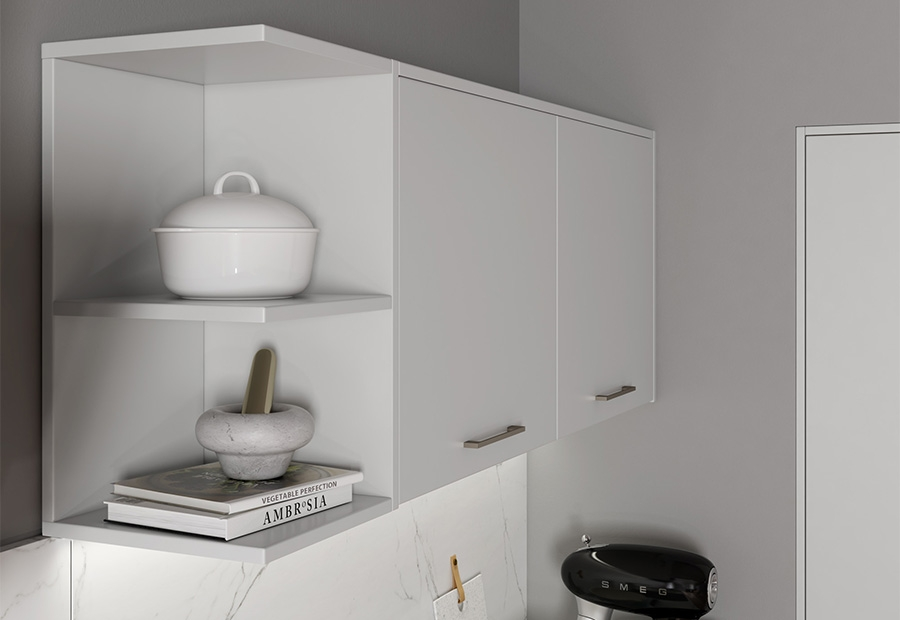 Zola Matte Light Grey Featuring Open Shelving
