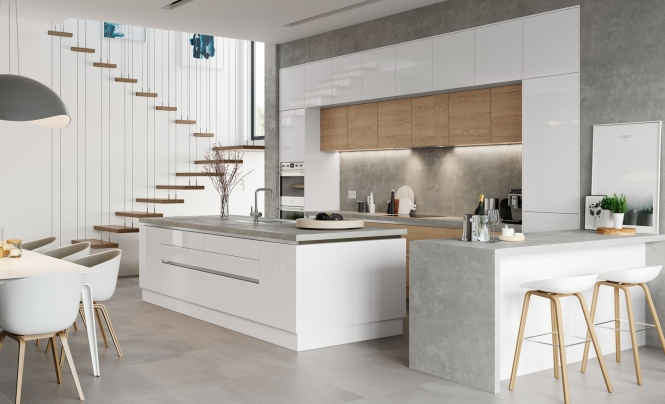 Modern Contemporary Zola Gloss Kitchen in White Featuring Tavola Stained in Parched Oak