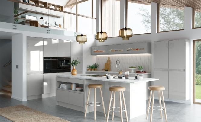 Modern Contemporary Strada Gloss Handless Kitchen In Light Grey