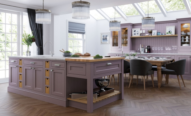Traditional Classic Belgravia Kitchen in Lavendar Grey & Cashmere