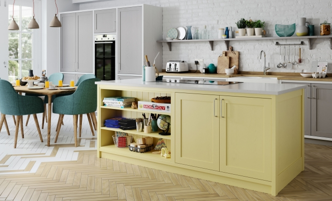Traditional Classic Country Aldana Shaker Style Kitchen in Painted Pale Yellow & Dust Grey Featuring a White Frame