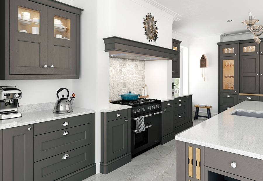 Wakefield painted lava kitchen featuring overmantel