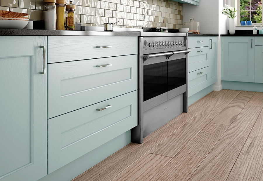 Contemporary Wakefield Painted Kitchen Drawers in Powder Blue
