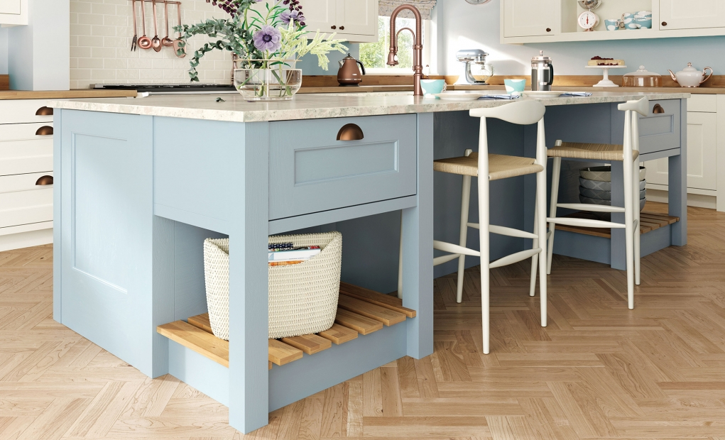 Wakefield Kitchen Island in Pantry Blue