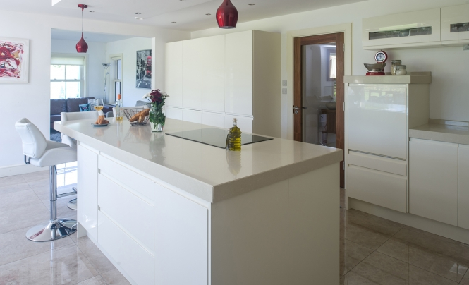 Contemporary Strada Gloss Kitchen In Ivory by Tierneys Kitchens