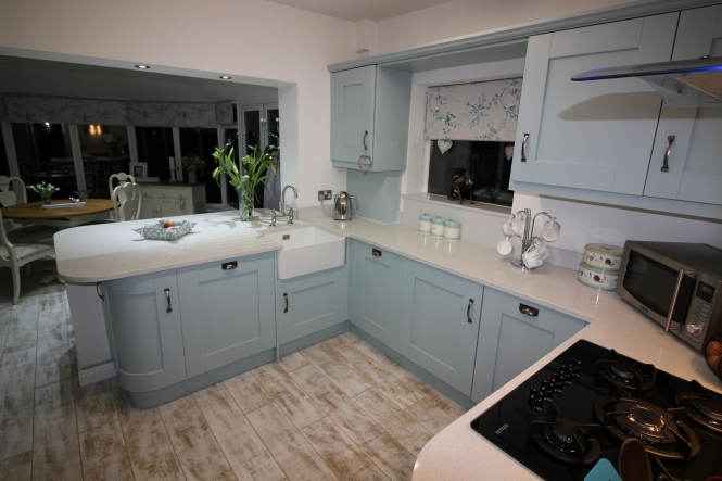 Windsor Shaker Kitchen in Painted Powder Blue for a Project in Ripon