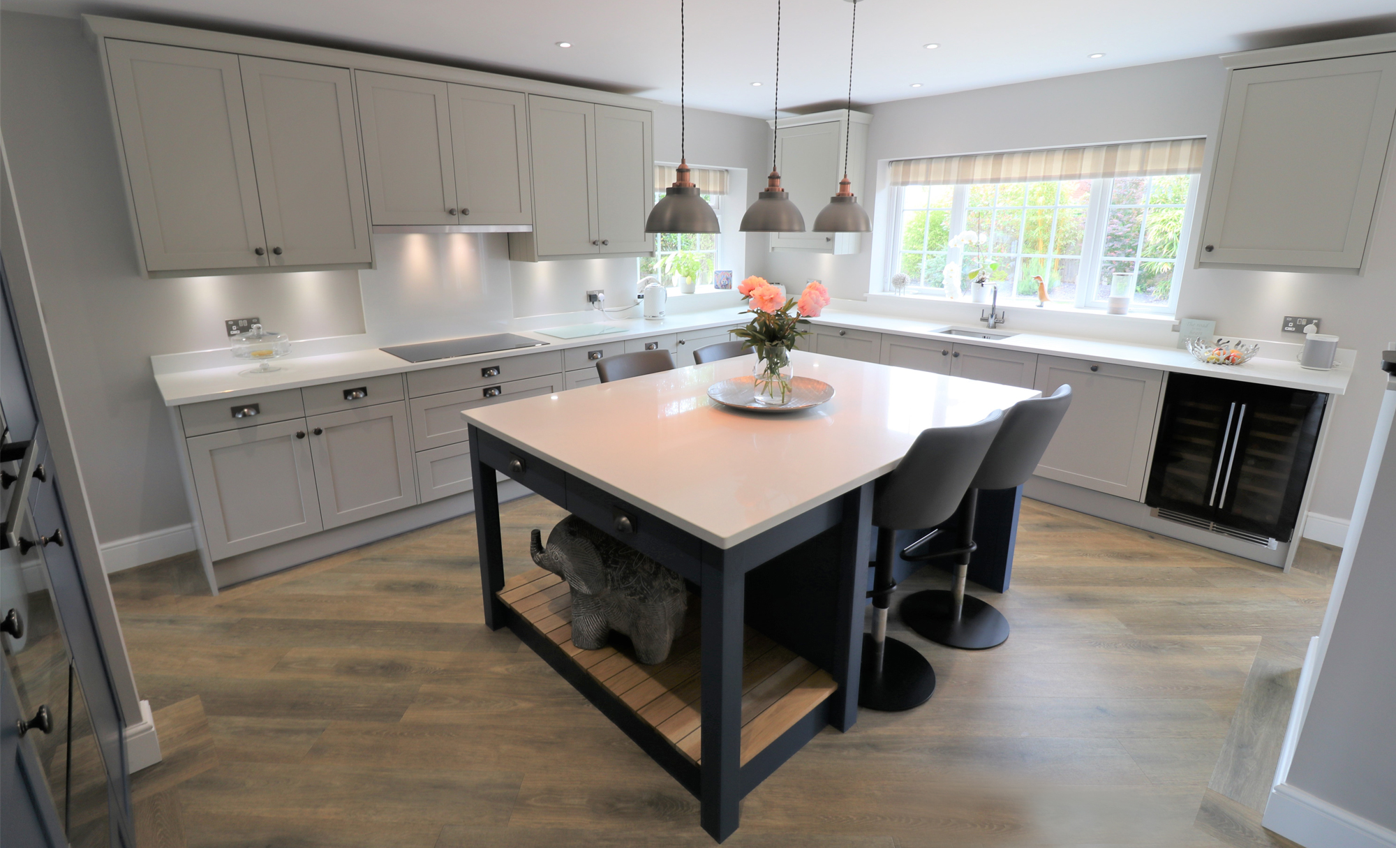 Aldana Painted Stone and Parisian Blue Kitchen for clients in Liverpool by Purple Kitchens