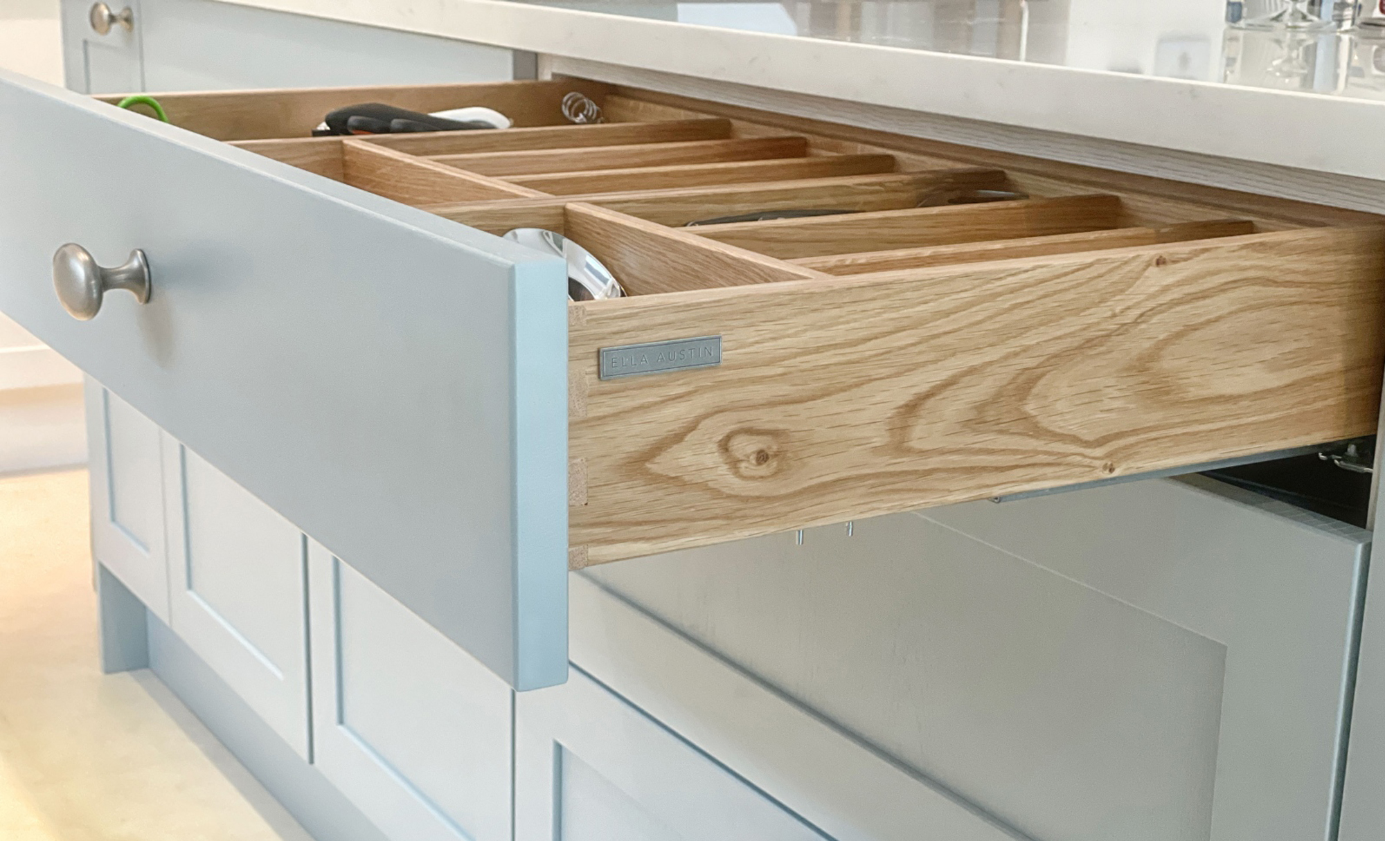 Kitchen Stori Aldana Pantry Blue and Brilliant White Kitchen Drawer