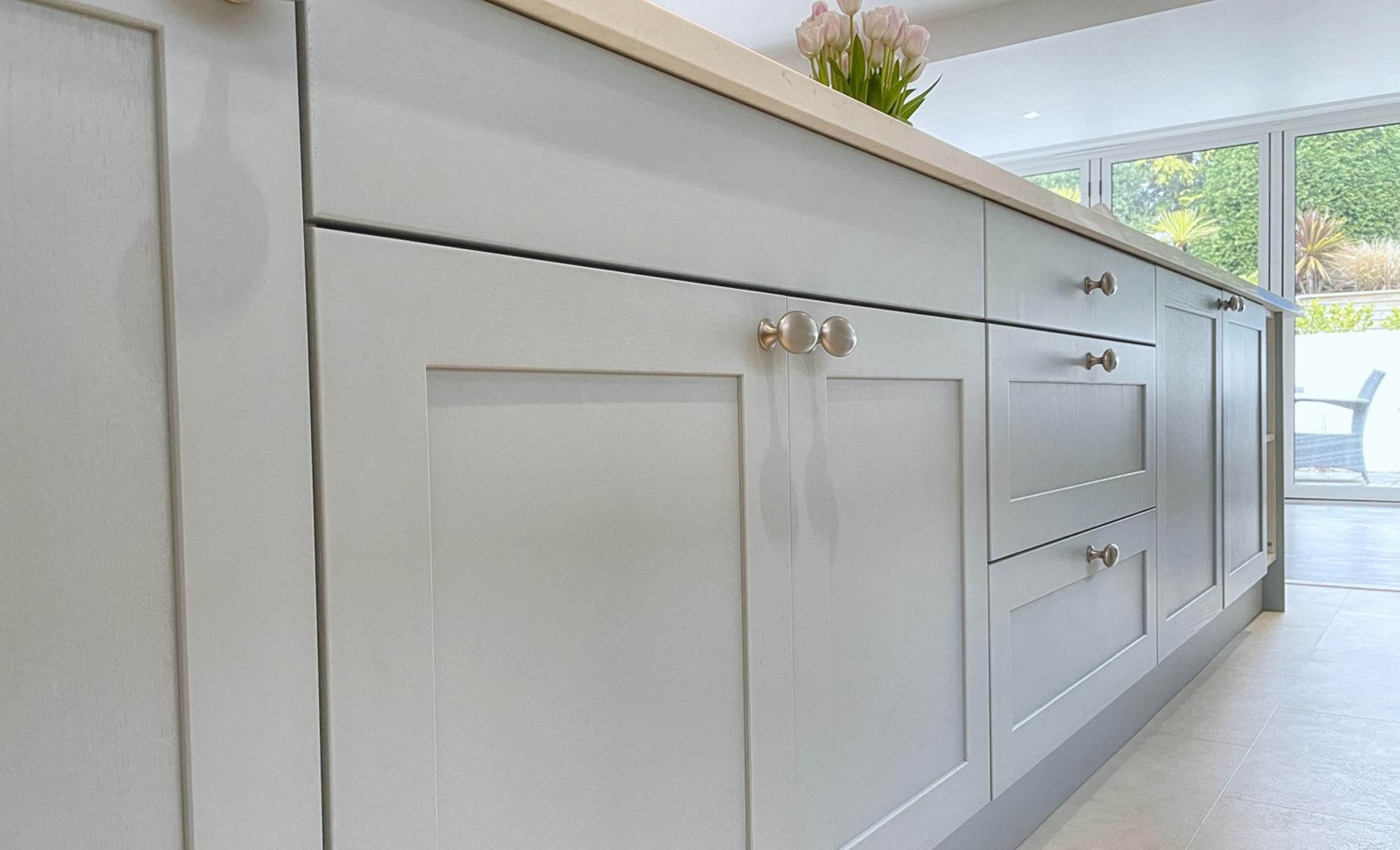 Kitchen Stori Aldana Pantry Blue and Brilliant White Kitchen Handles