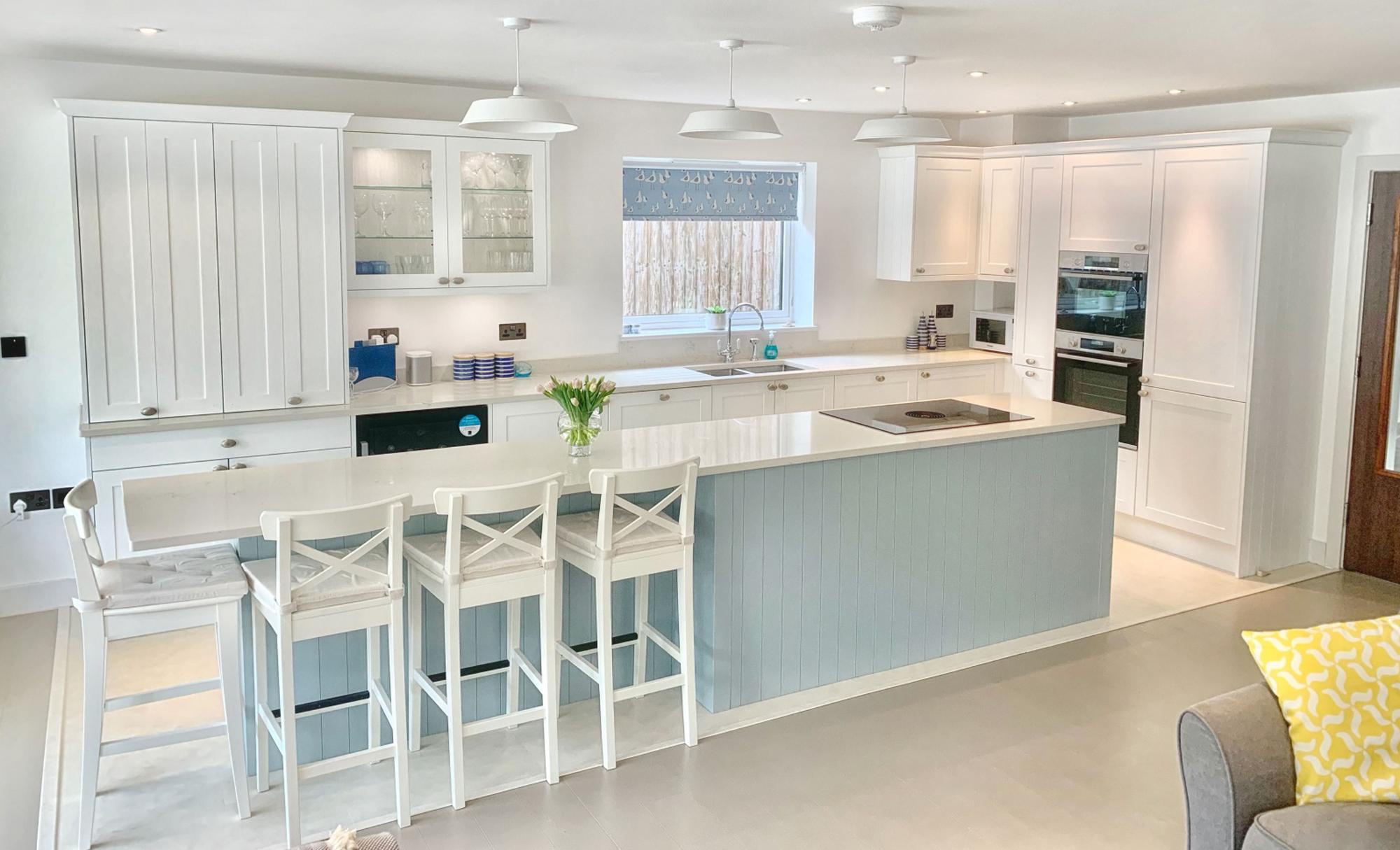 Kitchen Stori Aldana Pantry Blue and Brilliant White Kitchen by Ella Austin Kitchens