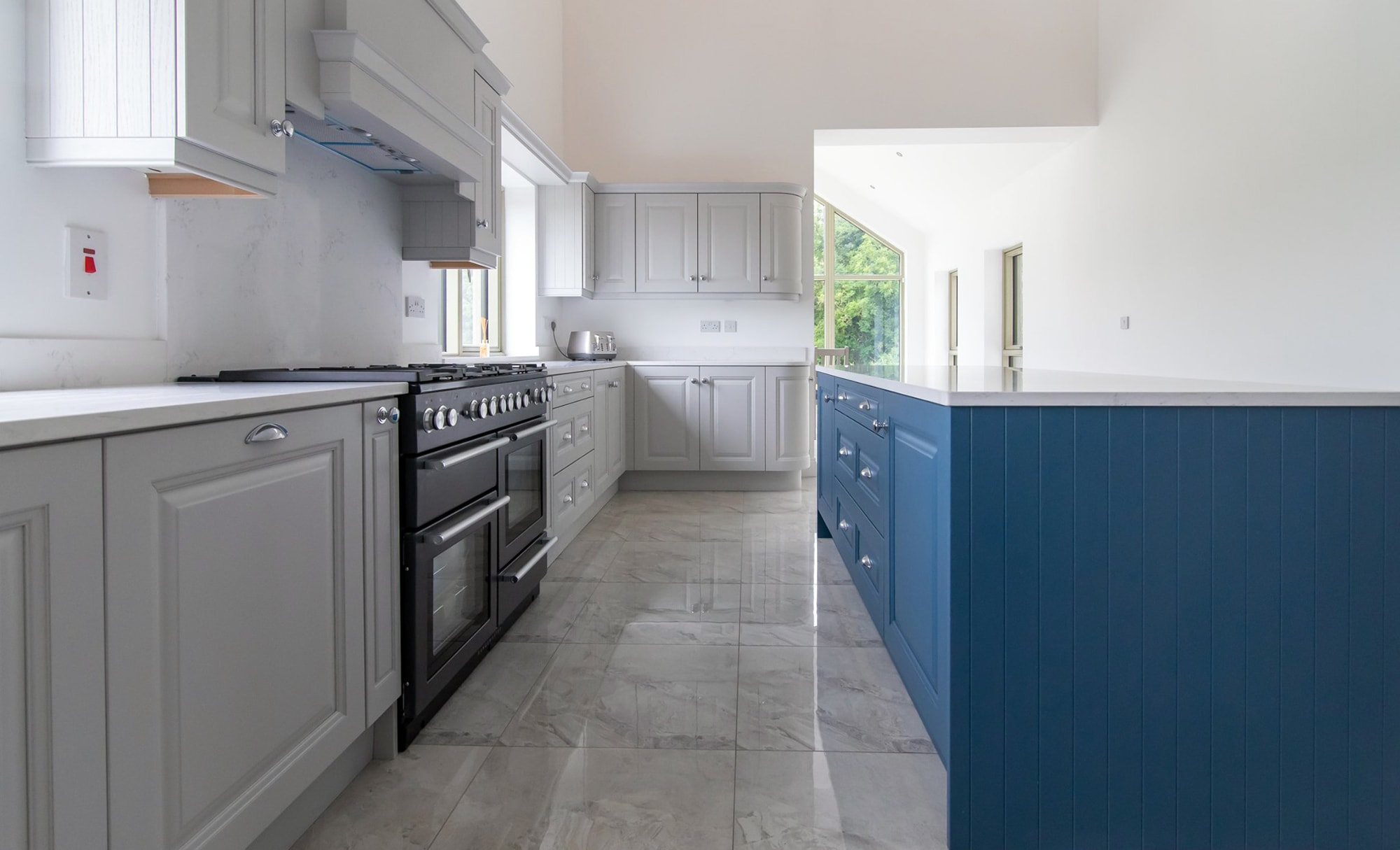 DWK Jefferson Light Grey & Airforce Blue Kitchen for a young couple in Co Offaly