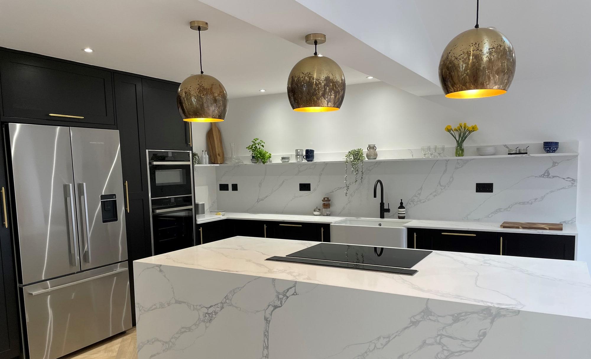 Kitchen Ergonomics Aldana Black Carbon Modern Kitchen Island