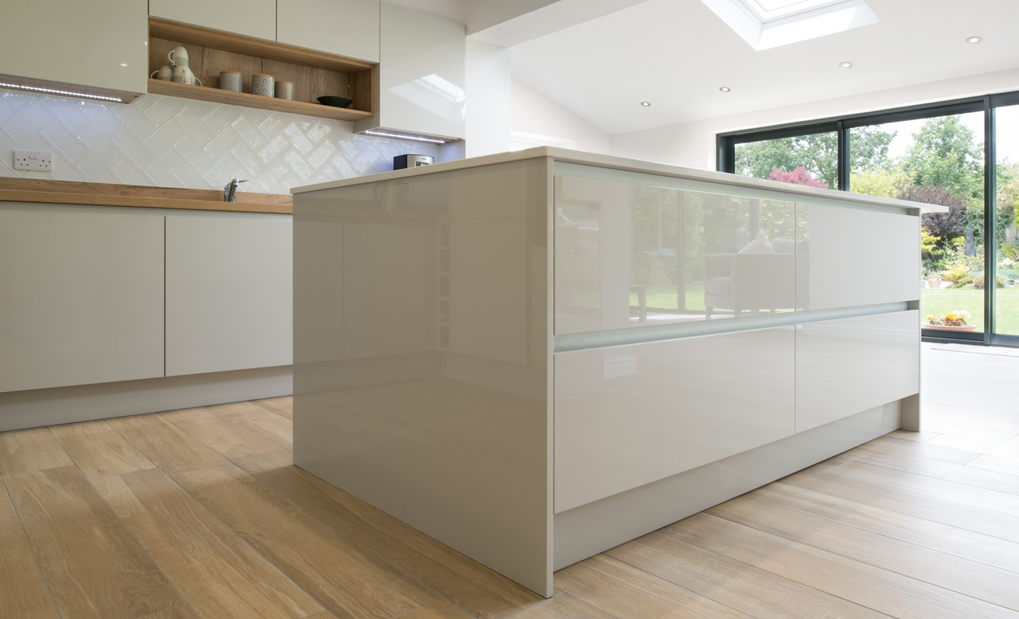 Kitchen Stori Zola Gloss Light Grey Kitchen by Maelstrom for a home in Lancaster Island