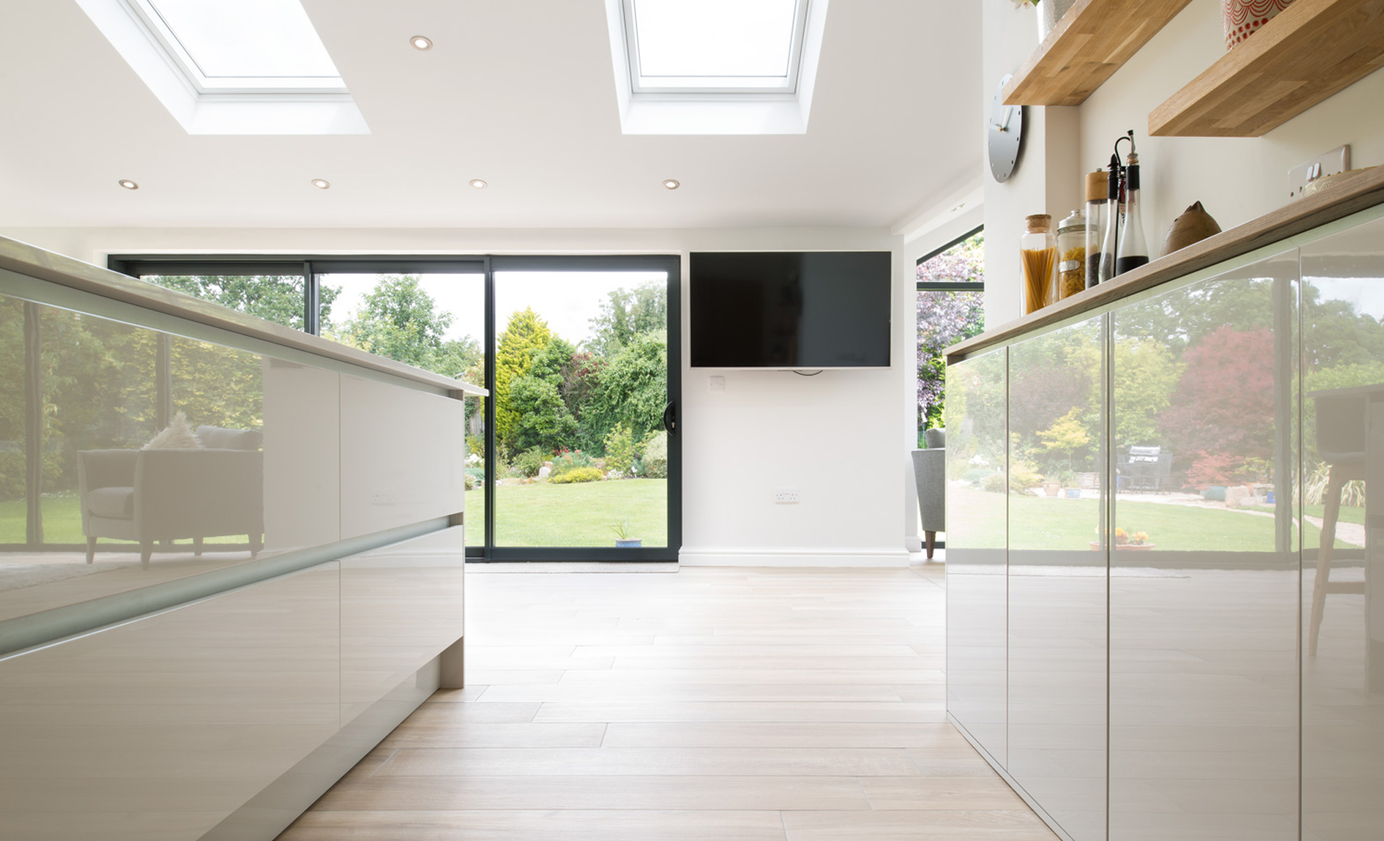 Kitchen Stori Zola Gloss Light Grey Kitchen by Maelstrom for a home in Lancaster Window