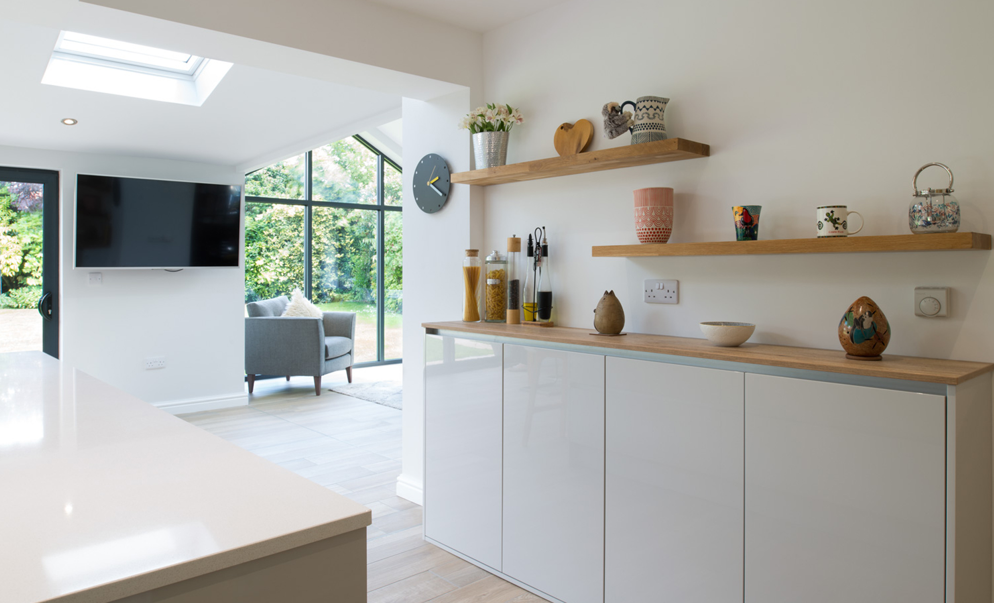 Kitchen Stori Zola Gloss Light Grey Kitchen by Maelstrom for a home in Lancaster Shelves