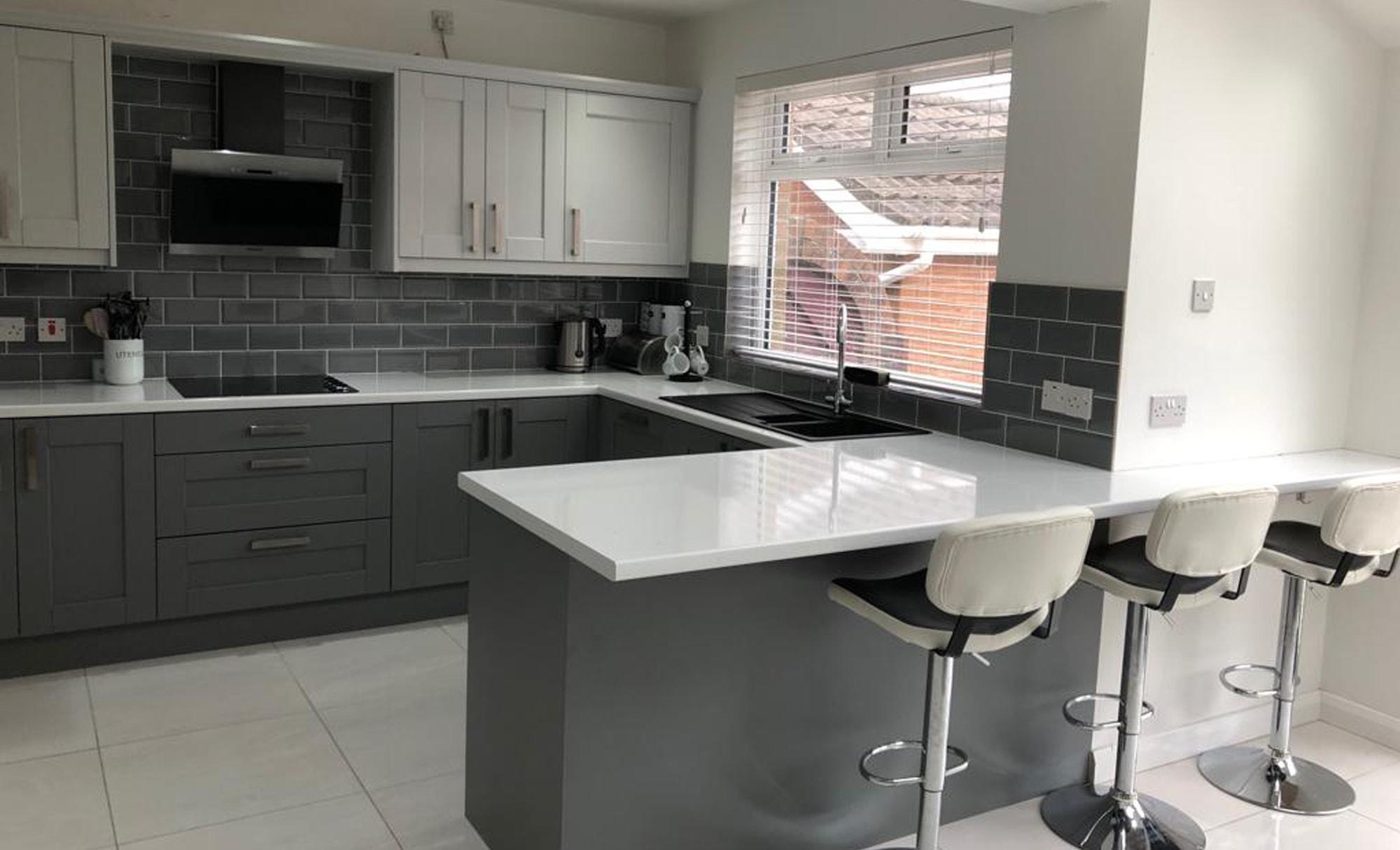 Make Kensington Light Grey & Dust Grey Kitchen Island