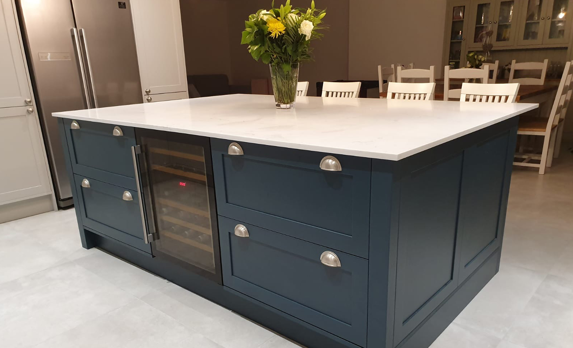 Aldana Light Grey & Marine Kitchen by Mill Town Kitchens Island