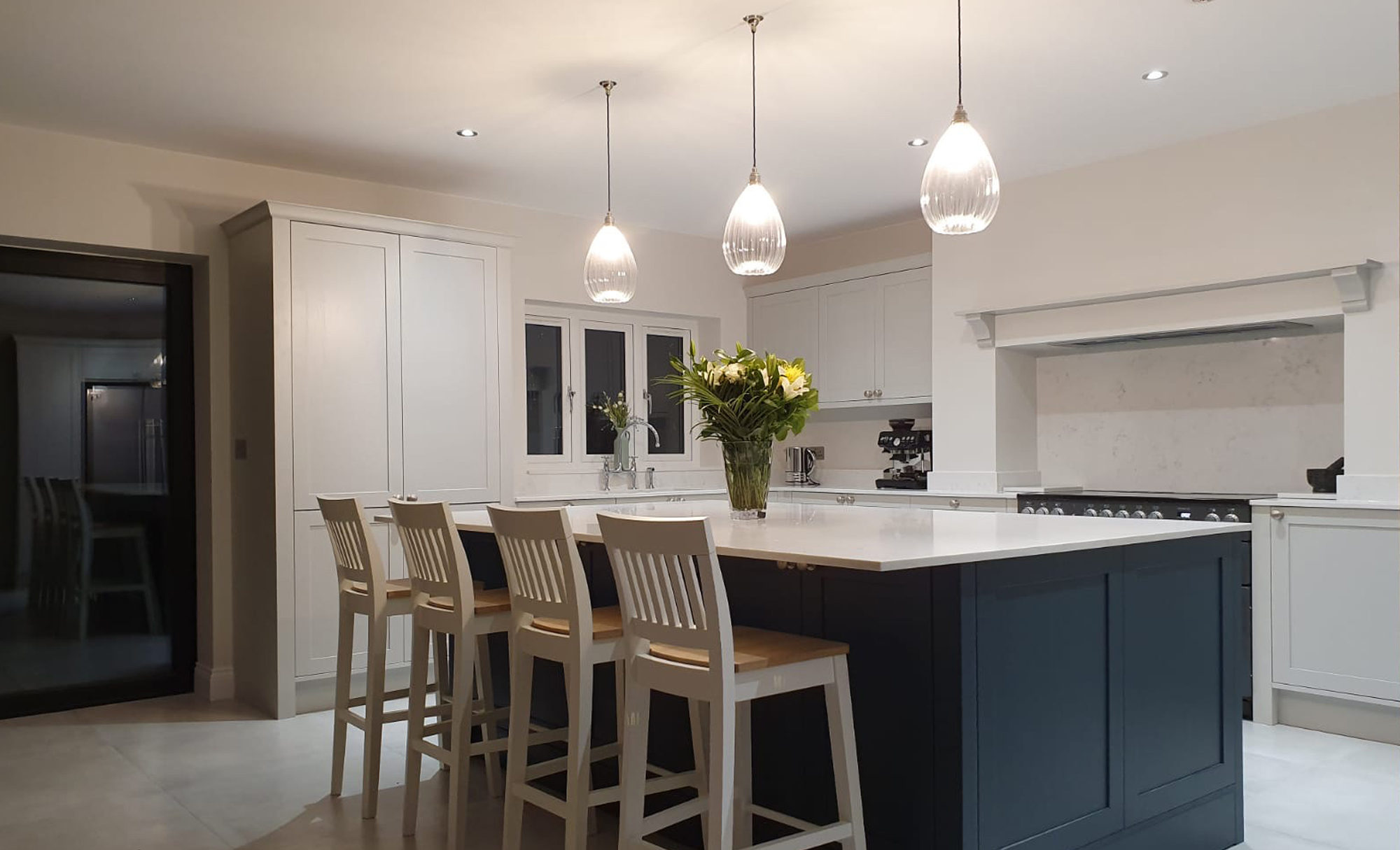 Aldana Light Grey & Marine Kitchen by Mill Town Kitchens