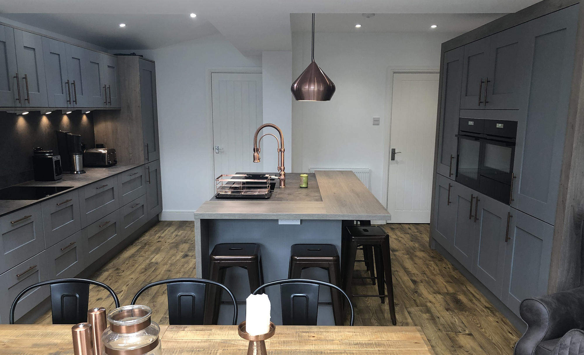 Windsor Shaker Painted Dust Grey by Mill Town Kitchens Island