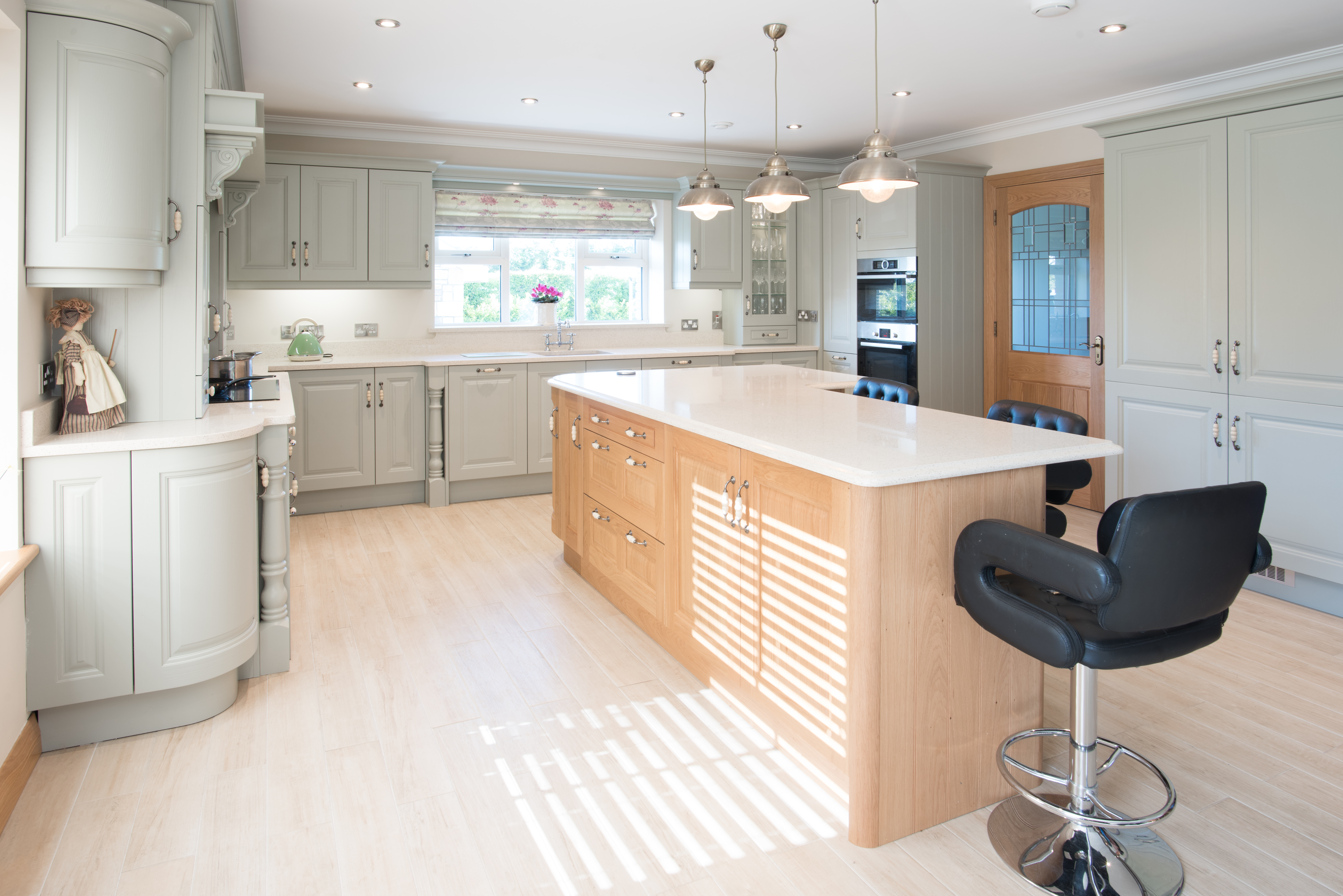 Ornan Jefferson Oak & Sage Green Kitchen for Mr & Murray of Co Meath