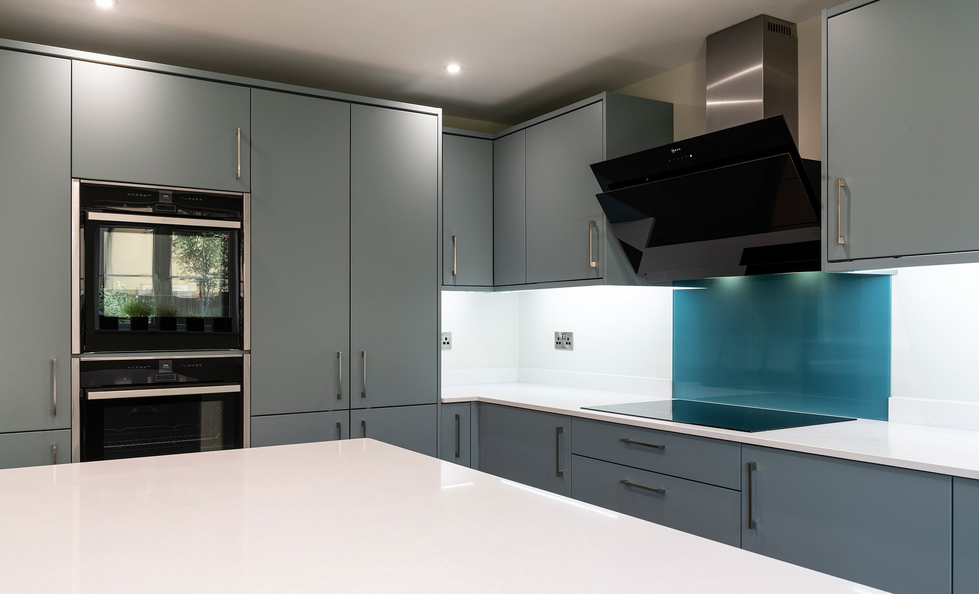 Portishead Kitchens Strada Matte Light Teal & Viridian island for a home in Portishead