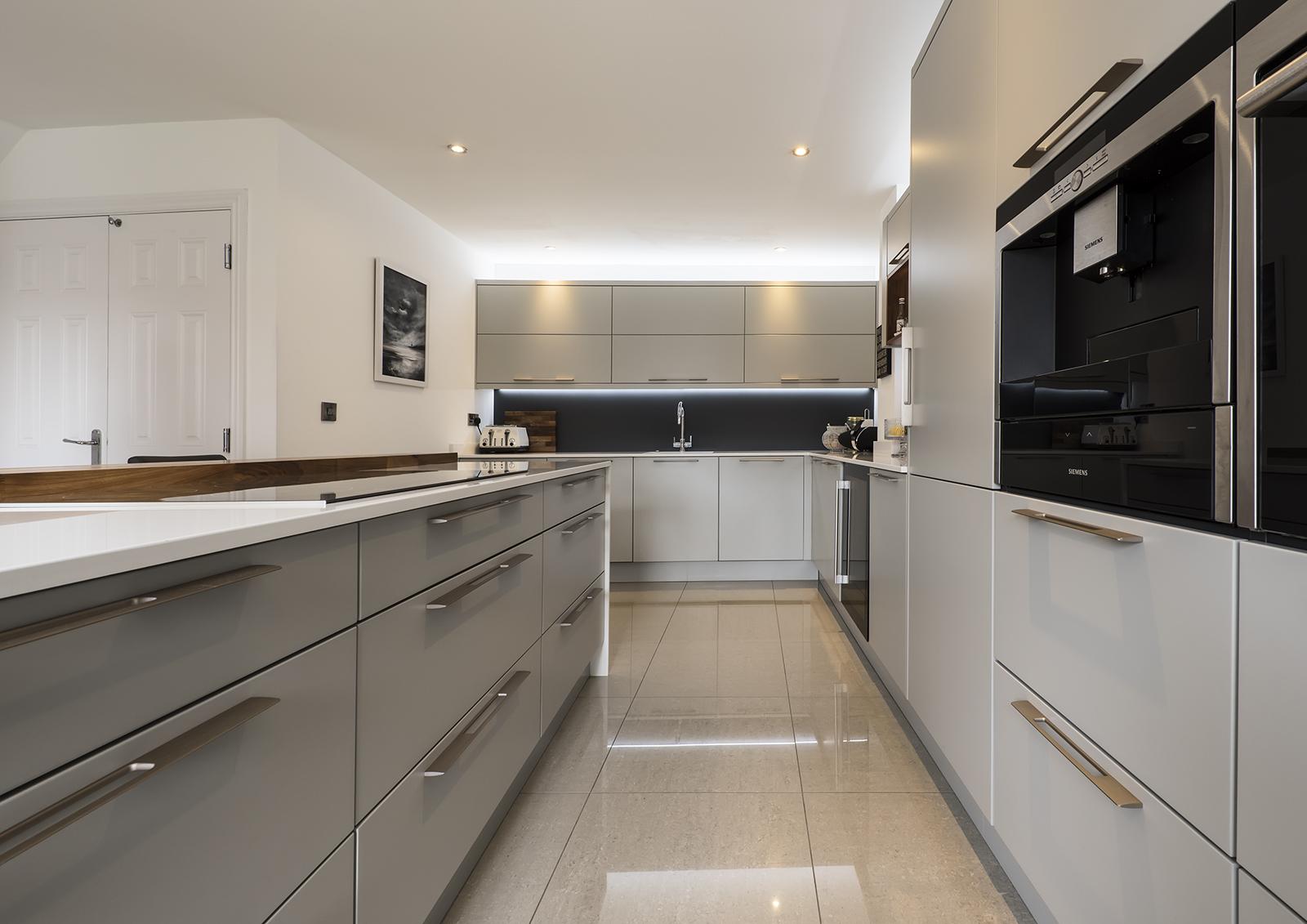 Portishead Zola Matte Light Grey Kitchen Cabinets