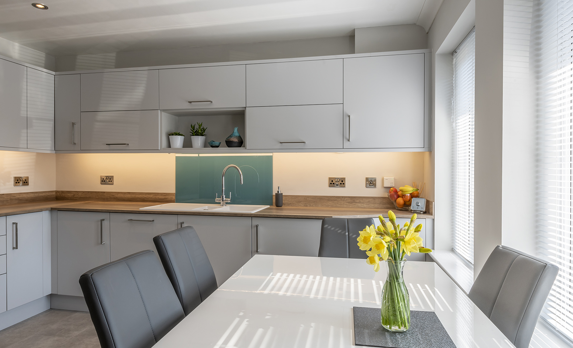 Portishead Kitchens Zola Matte Light Grey Kitchen Dining Table