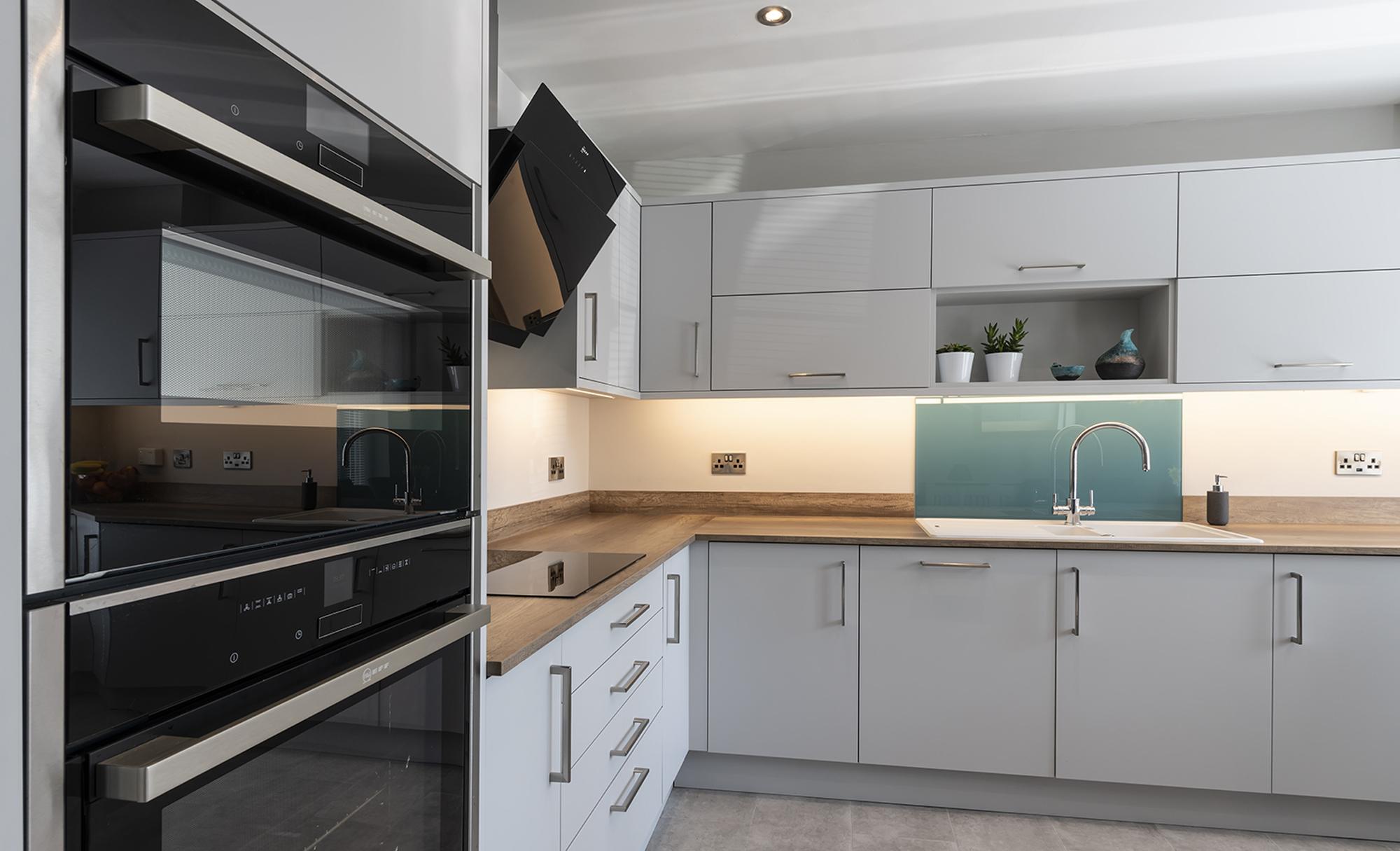 Portishead Kitchens Zola Matte Light Grey Kitchen for Mr & Mrs McElroy, Marina, Portishead