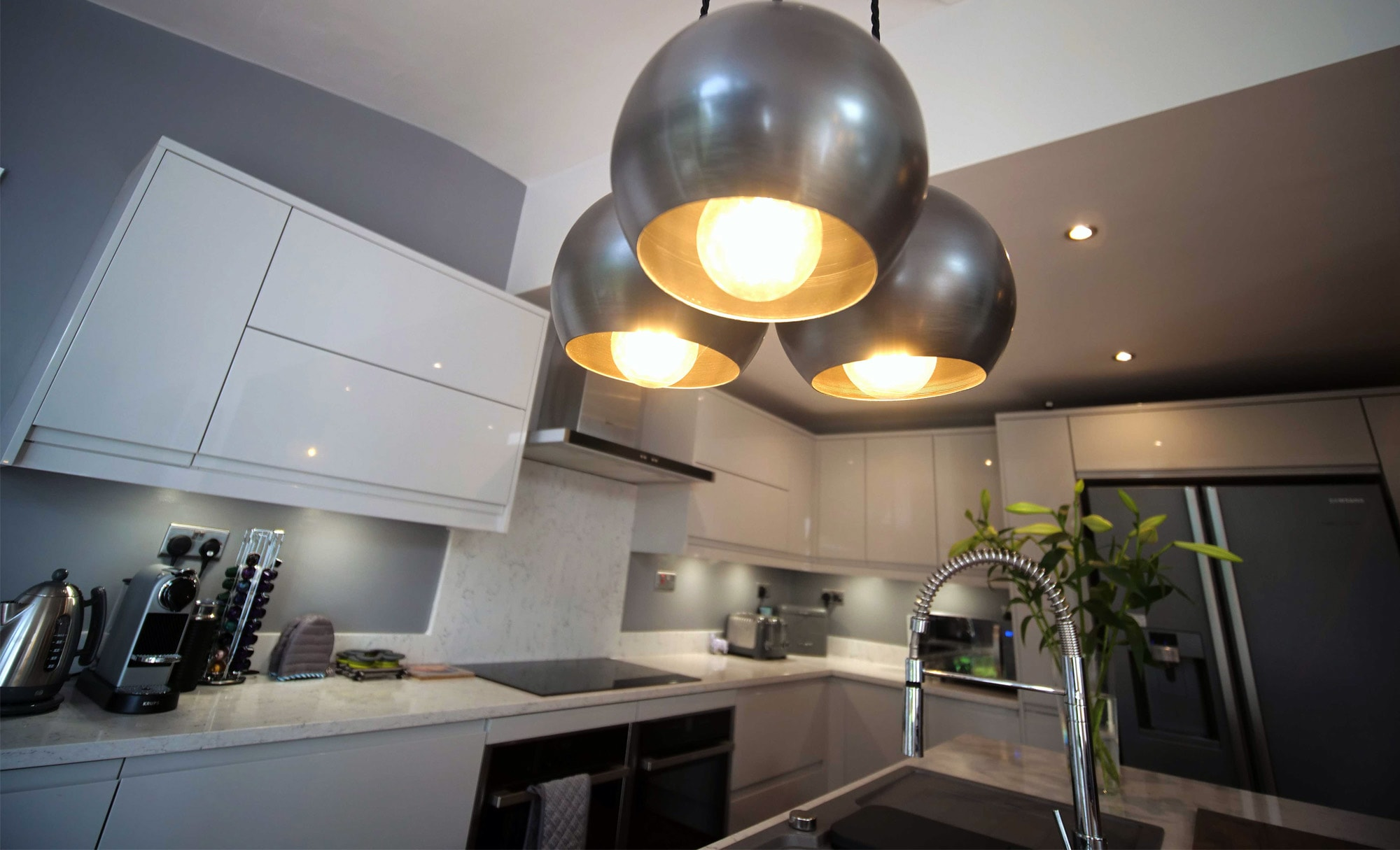 The Gallery Strada Gloss Light Grey & Dust Grey Kitchen Lights