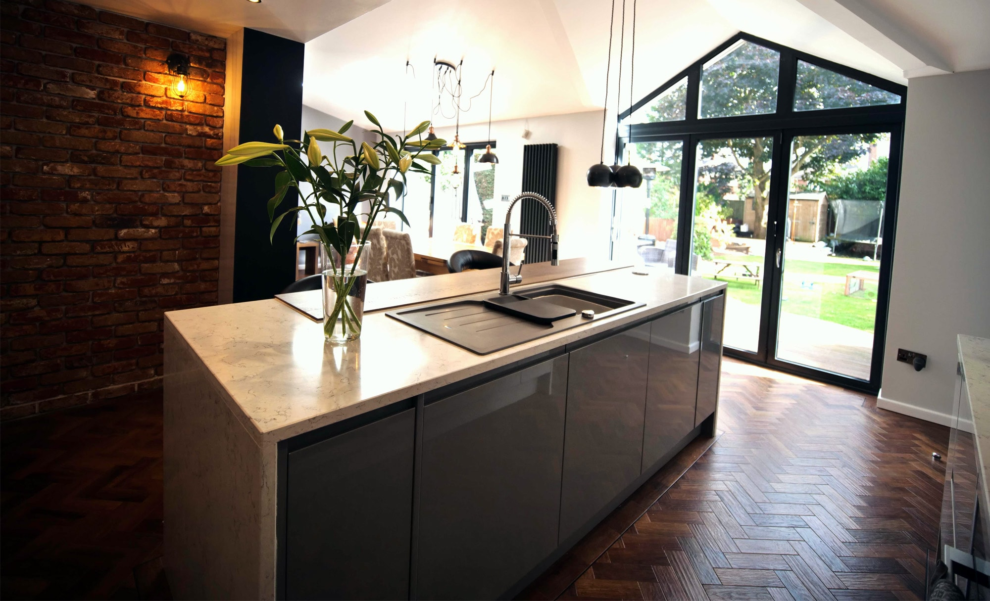 The Gallery Strada Gloss Light Grey & Dust Grey Kitchen for Mr & Sargent of Hagley