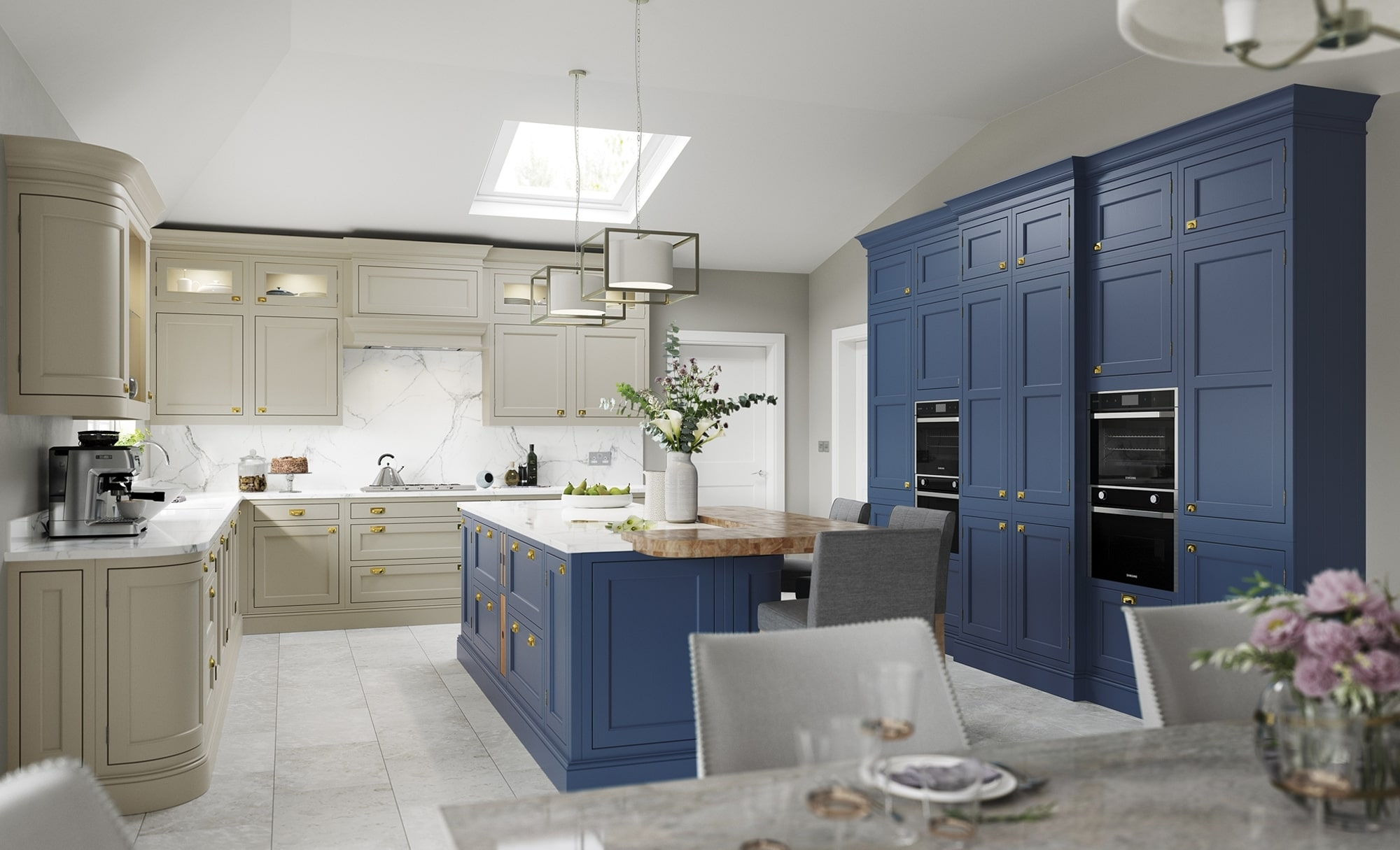 Traditional Classic Belgravia Kitchen in Stone & Parisian Blue