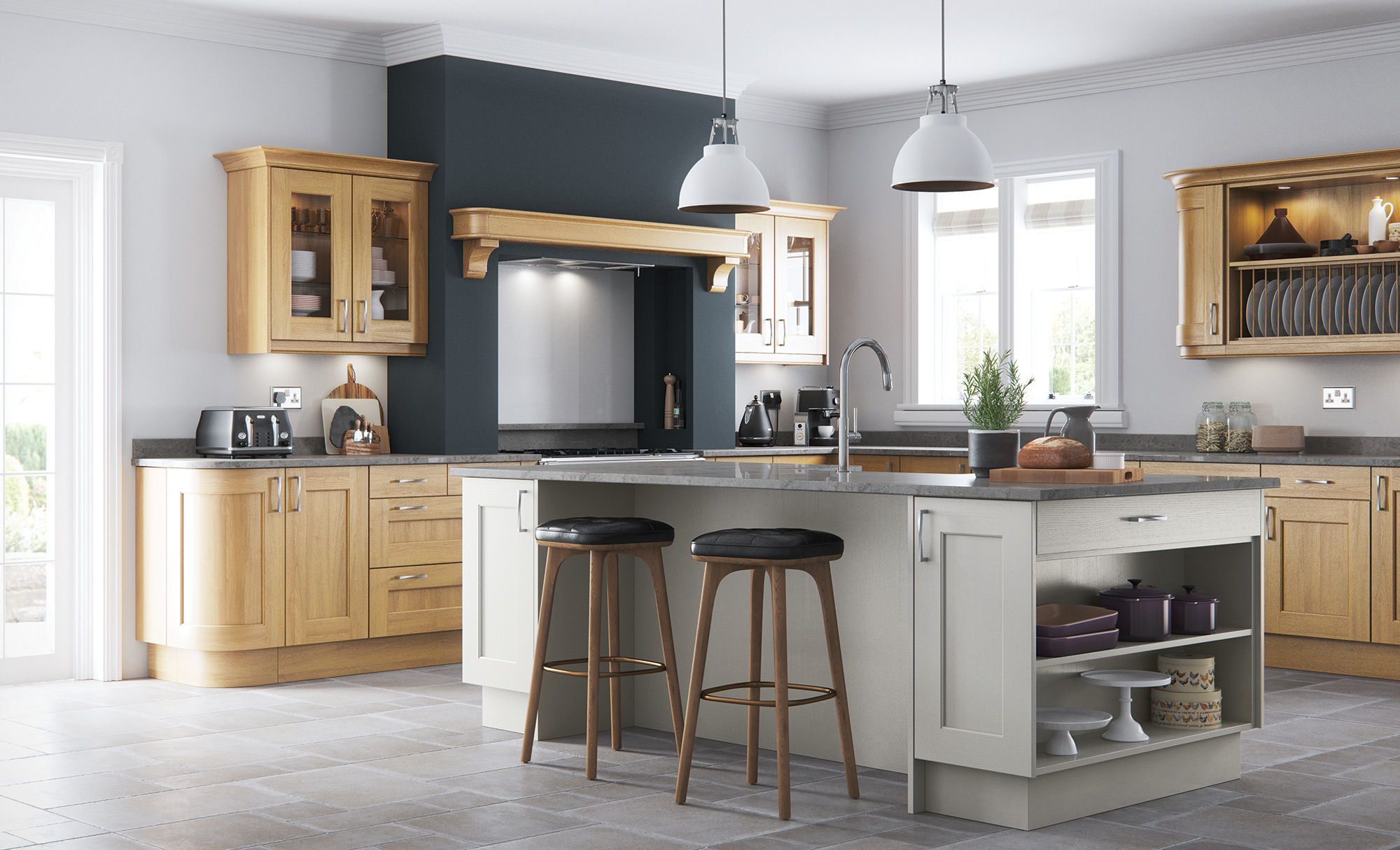 Classic & Contemporary Style Wakefield Oak Kitchen With Painted Stone
