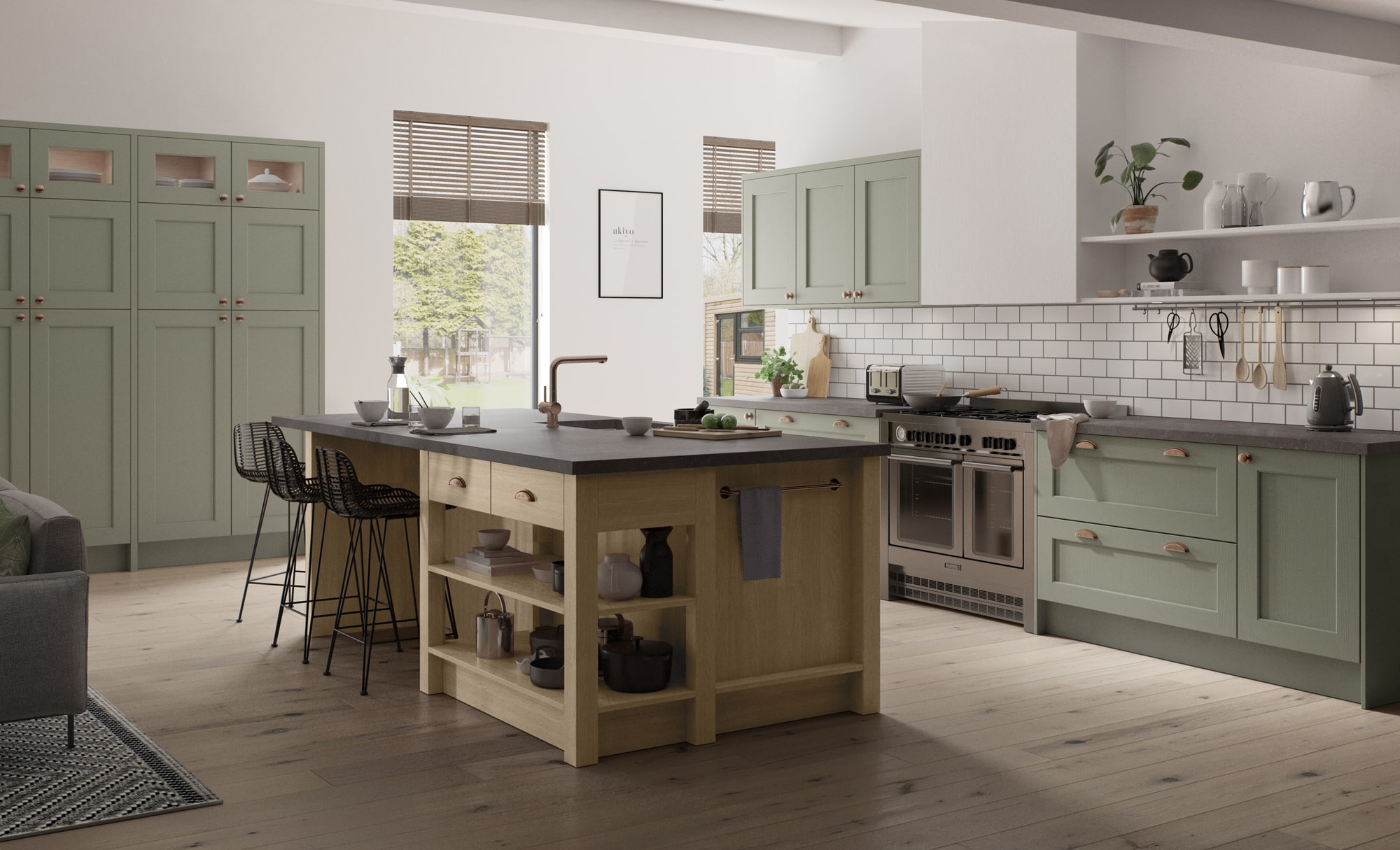 Traditional Wakefield Kitchen Painted Cardamom with Light Oak Island