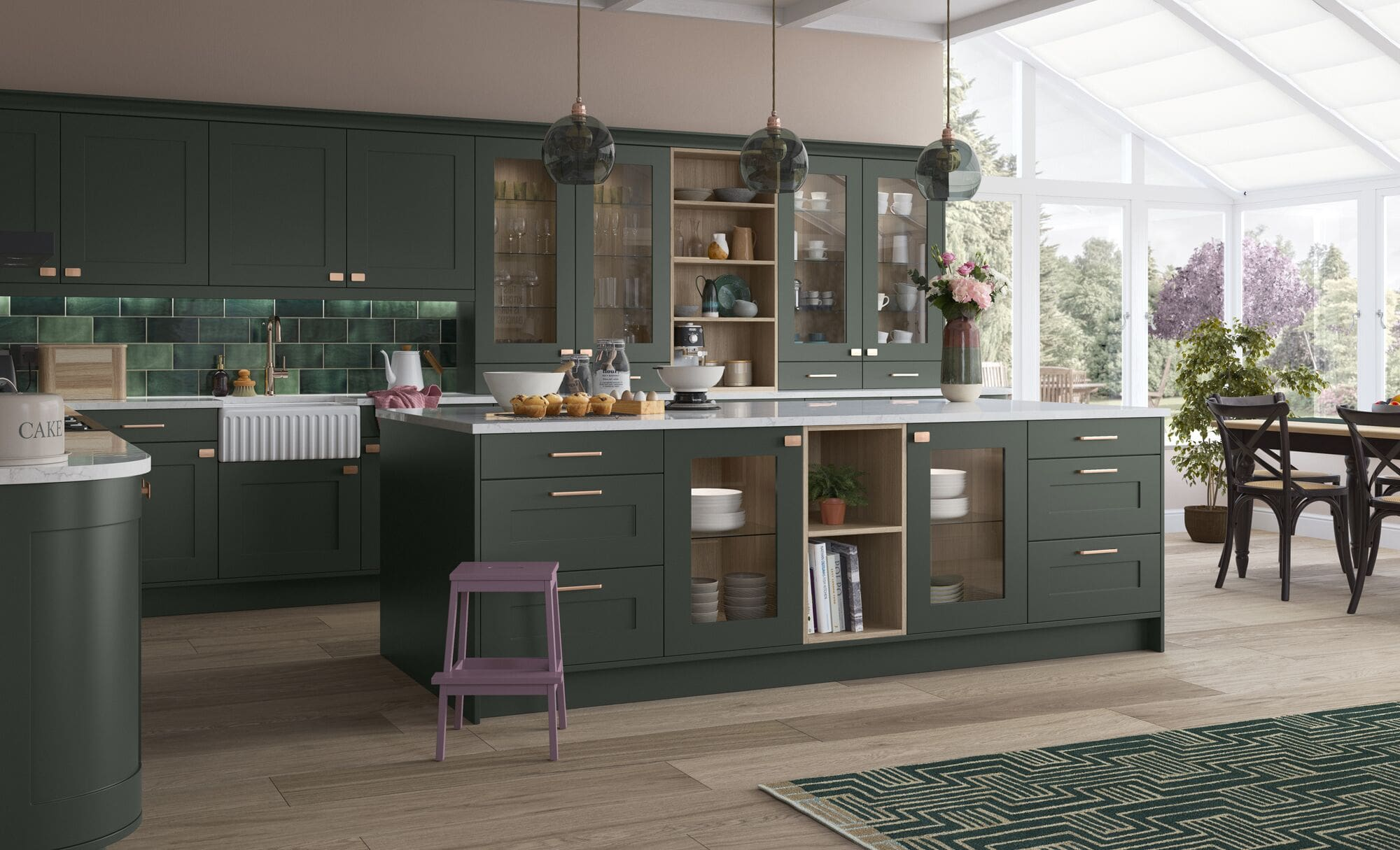 Classic Traditional Georgia Kitchen Painted Deep Forest
