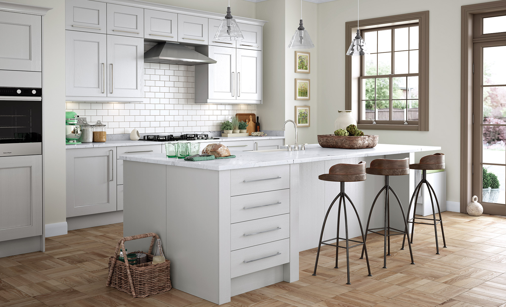 Classic Modern Contemporary Wakefield Kitchen in Painted Light Grey
