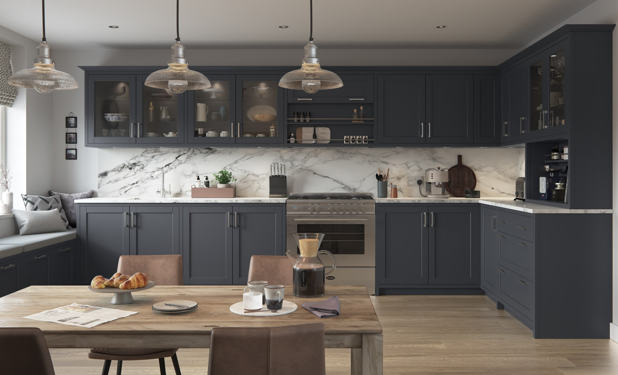 Classic Traditional Modern Dawson Indigo Kitchen